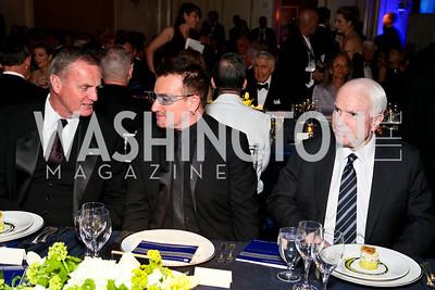Jim Jones, Bono, John McCain. Photo by Tony Powell. Atlantic Council 2010 Annual Awards Dinner. Ritz Carlton. April 28, 2010