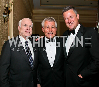 John McCain, Chuck Hagel, Joe Scarborough. Photo by Tony Powell. Atlantic Council 2010 Annual Awards Dinner. Ritz Carlton. April 28, 2010