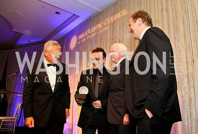 Chuck Hagel, Bono, John McCain, Fred Kempe. Photo by Tony Powell. Atlantic Council 2010 Annual Awards Dinner. Ritz Carlton. April 28, 2010