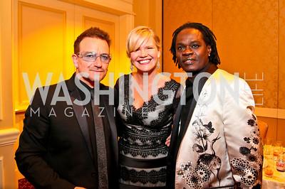 Bono, Anna Eliasson, Baaba Maal. Photo by Tony Powell. Atlantic Council 2010 Annual Awards Dinner. Ritz Carlton. April 28, 2010