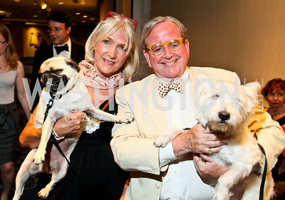 Photo by Tony Powell. The Washington Humane Society Bark Ball. Hilton Hotel. June 5, 2010. Patti Cumming and Mitzi, Councilmember Jim Graham and Guapo