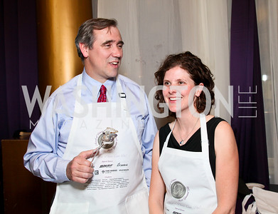 Senator Jeff Merkley and Mary Sorteberg. Photo by Tony Powell. March of Dimes Gourmet Gala. Building Museum. April 14, 2010