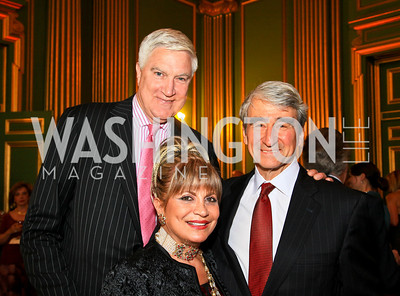 C. Thomas McMillen, Annie Totah, Sam Waterston. Photo by Tony Powell. Refugees International 31st Anniversary Dinner. Mellon Auditorium. May 6, 2010