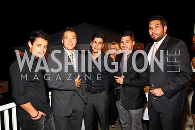 Photo by Tony Powell. Jesse Garcia, Benito Martinez, Jeremy Ray Valdez, Carlos Santos, Ray Cassas. Adrienne Arsht Salon Dinner for National Hispanic Foundation for the Arts. September 13, 2010