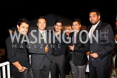 Photo by Tony Powell. Jesse Garcia, Benito Martinez, Jeremy Ray Valdez, Carlos Santos, Ray Cassas. Adrienne Arsht Salon Dinner for National Hispanic Foundation for the Arts. September 13, 2010