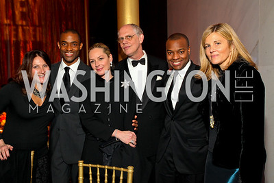 Andrea Thimm, Ailey dancer Amos Machanic II, Mariella Trager, Kevin Chaffee, Ebs Burnough, Sissy Yates. Alvin Ailey Gala. The Kennedy Center. February 2, 2010. photos by Tony Powell
