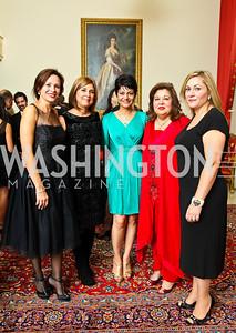 Photo by Tony Powell. Natalia Monteiro, Fariba Jahanbani, Shamim Jawad, Shaista Mahmood, Cidalia Akbar. Amb. Jawad Farewell. Mahmood residence. October 18, 2010