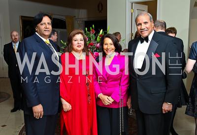 Photo by Tony Powell. Ray and Shaista Mahmood, Gail and Togo West. Amb. Jawad Farewell. Mahmood residence. October 18, 2010