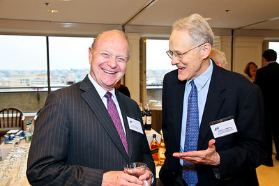 Photo by Tony Powell. Arthur Brooks Book Party. AEI Headquarters. June 9, 2010. Alex Pollock, Judge Stephen Williams