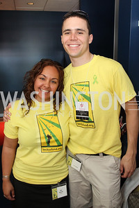 Elly Shariat, Sean O'Brien. Photo by Alfredo Flores. Becky's Fund Domestic Violence Awareness Day at Nationals Park