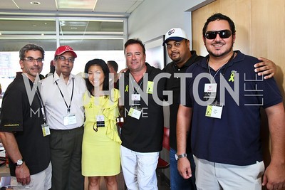 Ambassador of Pakistan Husain Haqqani, Becky Lee, Chris Thompson, Nico Sanderberg, Kenneth Suarez. Photo by Alfredo Flores. Becky's Fund Domestic Violence Awareness Day at Nationals Park