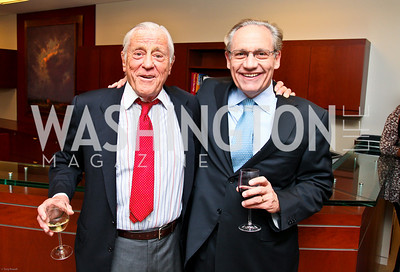 Photo by Tony Powell. Ben & Quinn Bradlee book party. The Washington Post Offices. June 7, 2010. Ben Bradlee, Bob Woodward
