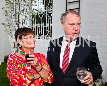"Photo by Tony Powell. Cartier event announcing the 2010 Joan Hisaoka ""Make a Difference"" Gala. Levinas residence. May 20, 2010. Naomi and Michael Quigley"