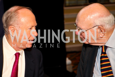 The Honorable David Gergen, Paul Volcker. CSPC Annual Awards Dinner. April 8, 2010. Photo by Tony Powell