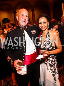 Photo by Tony Powell. Major Justin Constantine and Dahlia Constantine. Charity Works Dream Ball. National Building Museum. October 2, 2010