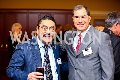 "Photo by Tony Powell. Bob Hisaoka, Jim Abdo. Cocktail reception to celebrate the success of the Joan Hisaoka ""Make a Difference"" Gala. Life with Cancer Center. December 9, 2010"