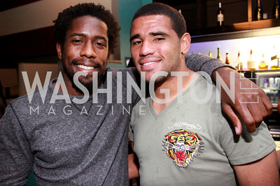 D.C. United soccer players Clyde Simms and Barry Rice