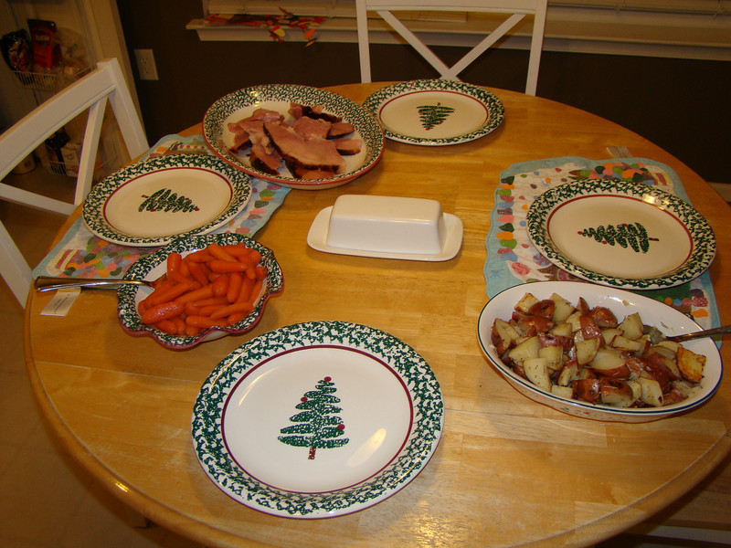 Our simple but yummy dinner of ham, roasted red potatoes with garlic and rosemary and glazed carrots..we also had rolls, and I made a pumpkin pie and raspberry shortbread cookies