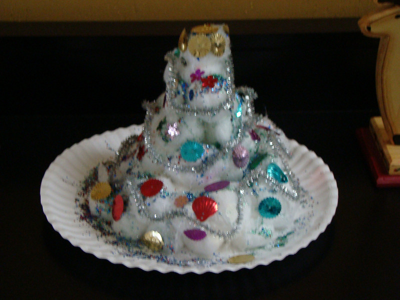 Christmas tree that Abby and I made out of cotton balls and sequins