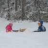 Aidan loved pulling Abby all around the yard..and they sledded down our iced over driveway