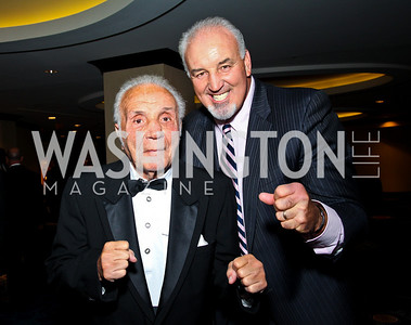 "Photo by Tony Powell. Boxer Jake ""The Raging Bull"" LaMotta, Boxer Gerry Cooney. Fight Night. Hilton Hotel. November 11, 2010"