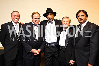 Photo by Tony Powell. Adm. Cutler Dawson, Joe Reeder, Boxer Ken Norton, Gen. John Craddock, Ray Mahmood. Fight Night. Hilton Hotel. November 11, 2010