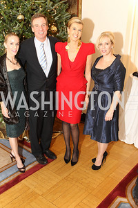Photo by Alfredo Flores. Cindy Jones, Mark Warner, Elizabeth de Kergorlay, Laura Bode . An International Evening of Excellence In Honor of Global Kids in D.C. at the Residence of the French Ambassador. December 12, 2010
