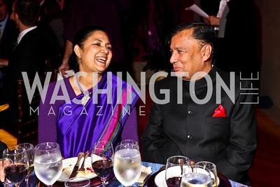 Photo by Tony Powell. India Amb. Meera Shankar and Ajay Shankar. Thanks A Million Gala. Mellon Auditorium. October 4, 2010
