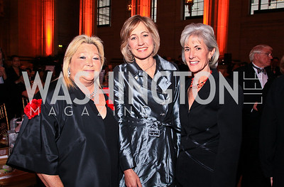 Constance Milstein, Dee Dee Myers, US Health and Human Services Secretary Kathleen Sebelius. Photo by Tony Powell. Heart's Delight Vintners Dinner. Mellon Auditorium. May 7, 2010