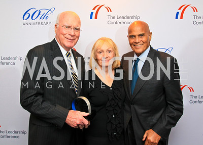Award recipient Senator Patrick Leahy, Marcelle Leahy, Award recipient Harry Belafonte. Photo by Tony Powell. The Hubert H. Humphrey Civil and Human Rights Award Dinner. Washington Hilton. May 12, 2010