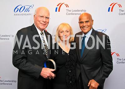 Award recipient Senator Patrick Leahy, Marcelle Leahy, Award recipient Harry Belafonte. Photo by Tony Powell. The Hubert H. Humphrey Civil and Human Rights Award Dinner. Washington Hilton. May 12, 2010