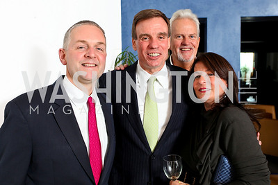 Robert Trone, Senator Mark Warner, Jack Davies, Anna Trone. Cocktail Reception at the home of Jack Davies to celebrate THEARC. December 1, 2009. photos by Tony Powell
