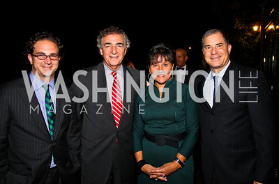Photo by Tony Powell. Toby Bozzuto, Tom Bozzuto, Penny Pritzker, Jim Abdo. Abdo Dinner for Catholic University. October 27, 2010