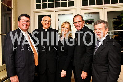 Photo by Tony Powell. Bob Sullivan, Monsignor Kevin Irwin, Laureen Price, Bishop David O'Connell, Jim Brennan. Abdo Dinner for Catholic University. October 27, 2010