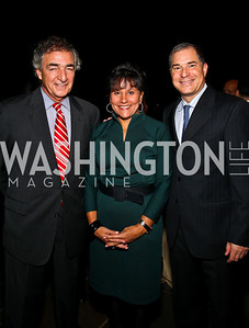 Photo by Tony Powell. Jim Abdo, Penny Pritzker, Tom Bozzuto. Abdo Dinner for Catholic University. October 27, 2010