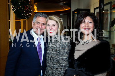 Photo by Tony Powell. Les Moonves, Actress Christine Baranski, Julie Chen. George Stevens Brunch. Mandarin Oriental. December 5, 2010