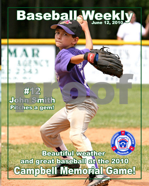 Campbell Game magazine cover 2010.  Magazine Covers are $20 and can be customized with players name, number, position and any text that you would like to add.  Just email me the photo filename you would like to use and the information about the player.  TMarsini@aol.com