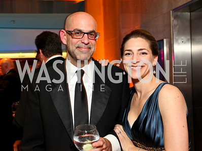 Richard Rabin and Rachel Goslins. Photo by Tony Powell. Dinner in honor of the 2009 Recipients of the National Medal of Arts and the National Humanities Medal. Museum of American History. February 24, 2010