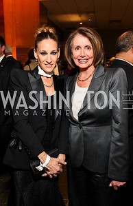 Sarah Jessica Parker and Speaker Nancy Pelosi. Photo by Tony Powell. Dinner in honor of the 2009 Recipients of the National Medal of Arts and the National Humanities Medal. Museum of American History. February 24, 2010