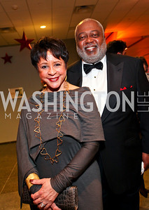 Sheila Johnson and William Newman. Photo by Tony Powell. Dinner in honor of the 2009 Recipients of the National Medal of Arts and the National Humanities Medal. Museum of American History. February 24, 2010