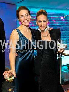 Rachel Goslins and Sarah Jessica Parker. Photo by Tony Powell. Dinner in honor of the 2009 Recipients of the National Medal of Arts and the National Humanities Medal. Museum of American History. February 24, 2010
