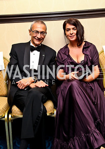Photo by Tony Powell. John Podesta, actress Annabella Sciorra. NIAF Gala. October 23, 2010