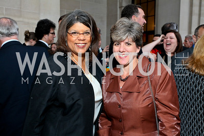 Novartis' Marjorie Gatlin, Debbie Freire. Photo by Tony Powell. NORD Gala. Mellon Auditorium. May 18, 2010