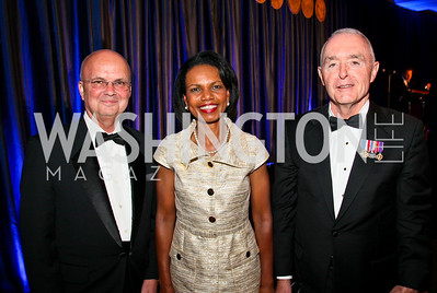 Photo by Tony Powell. Night of Heroes Gala. Ritz Carlton. June 3, 2010. General Michael Hayden, Condoleeza Rice, General Barry McCaffrey