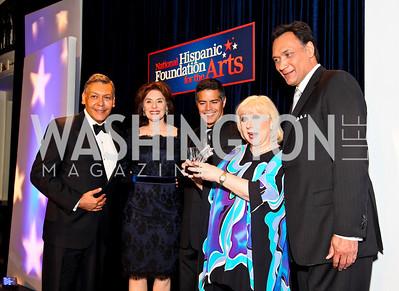 Photo by Tony Powell. Felix Sanchez, Merel Julia, Esai Morales, Cristina Saralegui, Jimmy Smits. Noche de Gala 2010. Mayflower Hotel. September 14, 2010