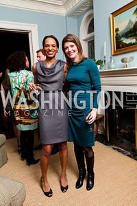 Nia-Malika Henderson and Norah O'Donnell. Goldman Sach's 10,000 Women event at Juleanna Glover Weiss' residence for The Rebecca Project. November 14, 2009. photos by Tony Powell