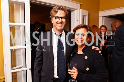 Photo by Tony Powell. Ned Martel, Paula Cuello. Richard Wolffe Book Party. November 30, 2010