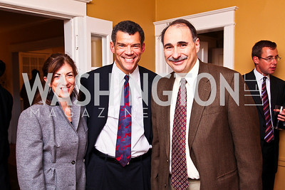 Photo by Tony Powell. Alexis Gelver, Mark Whitaker, David Axelrod. Richard Wolffe Book Party. November 30, 2010