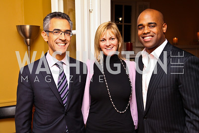 Photo by Tony Powell. Richard Wolffe, Katharine Weymouth, Jamal Simmons. Richard Wolffe Book Party. November 30, 2010