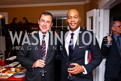 Photo by Tony Powell. New York Times' Jeff Zeleny, Terry Neal. Richard Wolffe Book Party. November 30, 2010